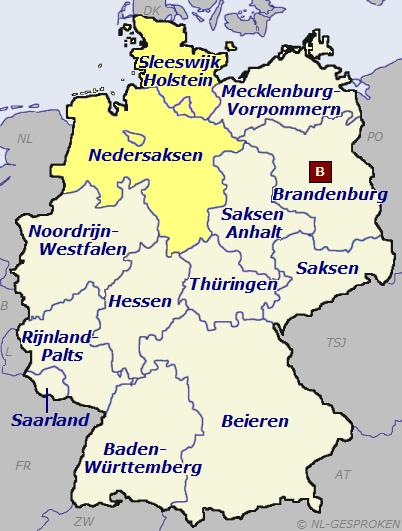 Kaart Duitsland-Noord