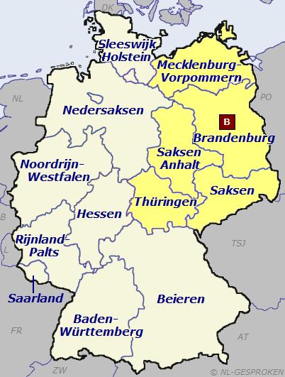 Kaart Duitsland-Oost