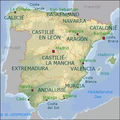 KAART SPANJE (REGIO'S)